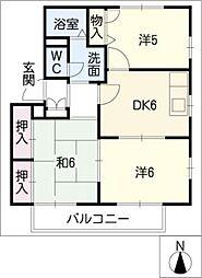 サンハイツ徳重 D棟[2階]の間取り