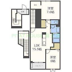 JR学園都市線 新川駅 徒歩11分の賃貸アパート 3階2LDKの間取り