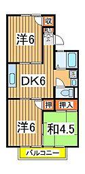 パールハイツ飯塚[2階]の間取り