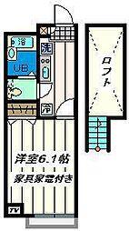 千葉県市川市柏井町の賃貸アパートの間取り