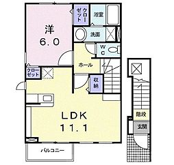 近鉄長野線 汐ノ宮駅 徒歩5分の賃貸アパート 2階1LDKの間取り