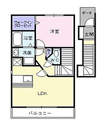 東京都東久留米市滝山3丁目の賃貸アパートの間取り