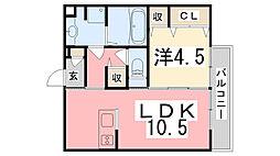 兵庫県姫路市飾磨区中野田2丁目の賃貸アパートの間取り