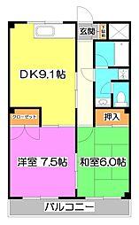 埼玉県富士見市鶴馬2丁目の賃貸マンションの間取り