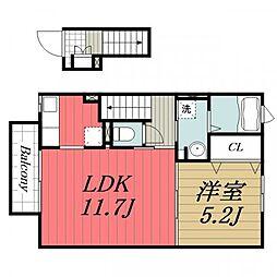 京成本線 京成成田駅 バス14分 南七栄ニュータウン下車 徒歩4分の賃貸アパート 2階1LDKの間取り