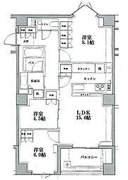 JR山手線 恵比寿駅 徒歩25分の賃貸マンション 2階3LDKの間取り