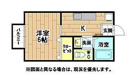 福岡県北九州市小倉北区菜園場2丁目の賃貸アパートの間取り