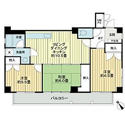 ライオンズマンション泊第5[3階]の間取り