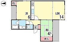 ヒルハウスモトヤマ[301号室]の間取り
