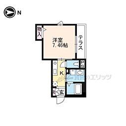 京福電気鉄道北野線 北野白梅町駅 徒歩14分の賃貸アパート 1階1Kの間取り