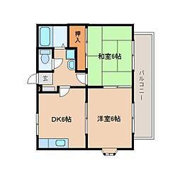 静岡県藤枝市時ケ谷の賃貸アパートの間取り