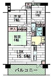 ジオ北千里古江台1番館[6階]の間取り