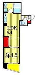 プラージュ東千葉 1階1LDKの間取り