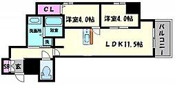 Imperial Suite 南堀江(インペリアルスイート南堀江) 3階2LDKの間取り