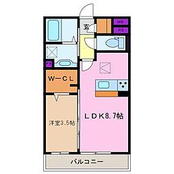 三重県四日市市新正1丁目の賃貸アパートの間取り