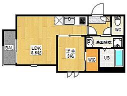 REGALEST 箱崎宮前[3階]の間取り