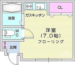 仙台市地下鉄東西線 川内駅 徒歩14分の賃貸マンション 2階ワンルームの間取り