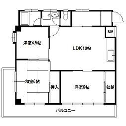 花野ビル[3階]の間取り
