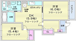 JR東北本線 岩沼駅 徒歩18分の賃貸アパート 1階2DKの間取り