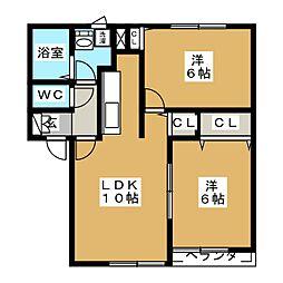グランメール篠田A[2階]の間取り