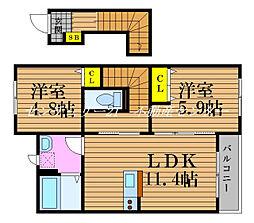 JR宇野線 妹尾駅 徒歩4分の賃貸アパート 2階2LDKの間取り