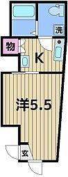ブリリアントコート梅島 1階1Kの間取り