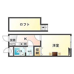大阪府大阪市生野区巽北4の賃貸アパートの間取り