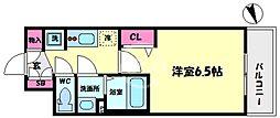 プレサンスOSAKA DOMECITYスクエア 2階1Kの間取り