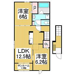 JR大糸線 細野駅 徒歩9分の賃貸アパート 2階2LDKの間取り