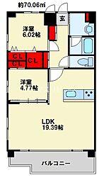 スマート到津 14階2LDKの間取り