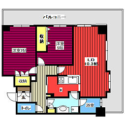 レジディアタワー仙台 12階2LDKの間取り