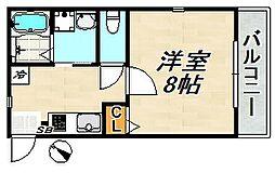 フォレスト蓮宮No3 3階1Kの間取り