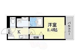 阪急千里線 豊津駅 徒歩5分の賃貸アパート 3階1Kの間取り