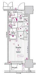 JR中央本線 立川駅 徒歩5分の賃貸マンション 11階1Kの間取り