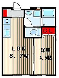 ワンズコア新松戸 V[103号室号室]の間取り