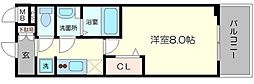プレサンス心斎橋ソレイユ 15階1Kの間取り