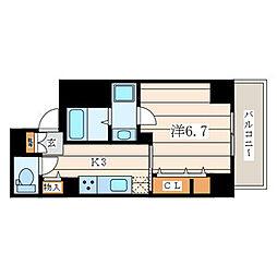 アムール香川 3階1Kの間取り