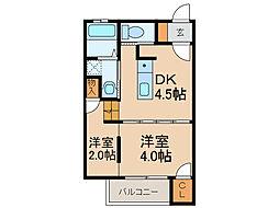 コンフォール石坂 2階1DKの間取り