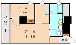 JR鹿児島本線 香椎駅 徒歩3分の賃貸マンション 4階1LDKの間取り