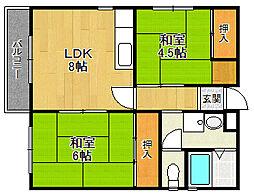 パークサイド東武庫[302号室]の間取り