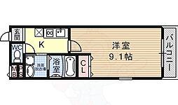フジパレス今川WEST 1階1Kの間取り