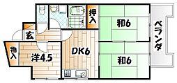 福岡県北九州市八幡東区西本町4の賃貸マンションの間取り