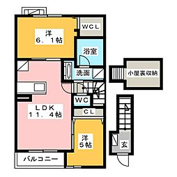 エバーグリーン[2階]の間取り