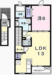兵庫県加西市北条町古坂7丁目の賃貸アパートの間取り