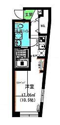 京王線 府中駅 徒歩8分の賃貸アパート 3階ワンルームの間取り