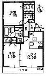 フェリーチェファミリアB[3階]の間取り