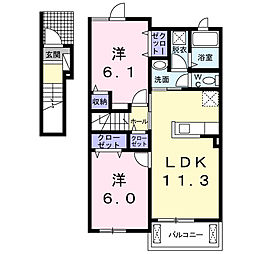 大阪府八尾市東山本町7丁目の賃貸アパートの間取り