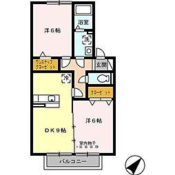 愛知県名古屋市守山区大字上志段味字洞田の賃貸アパートの間取り
