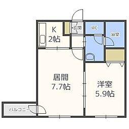 北海道札幌市中央区南六条西22丁目の賃貸マンションの間取り