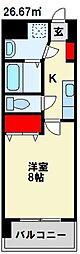 MDIアクトスぺリタ折尾駅前 2階1Kの間取り
